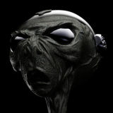 Alien. Sci-Fi grey alien head scene 3D Stock Photo