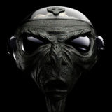 Alien. Sci-Fi grey alien head scene 3D Stock Photography