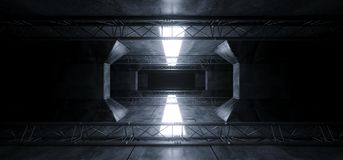 Alien Sci Fi Led White Glowing Dark Light Lines In Futuristic Modern Construction Stage Tunnel Grunge Concrete Reflections. Background 3D Rendering Illustration royalty free stock images