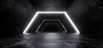 Alien Sci Fi Modern Futuristic Minimalist Empty Dark Concrete Co. Rridor Tunnel With White Glow Light Empty Space For Text Science Fiction Background 3D stock image