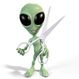 Alien with scissors Stock Photo
