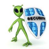 Alien and shield Stock Image