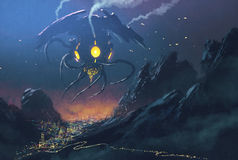 Alien ship invading night city. Sci-fi scene.Alien ship invading night city,illustration painting Royalty Free Stock Image