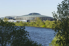 The alien ship. Landed on the shore of the reservoir in Minsk stock images