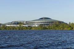The alien ship. Landed on the shore of the reservoir in Minsk stock photo