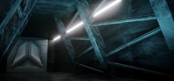 Alien Ship Sci-Fi Dark Grunge Concrete Room Tunnel Corridor With. Door At End And White Neon Light Tube Spooky Background 3D Rendering Illustration stock illustration