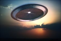 Alien Ship UFO Sunset Sky Vector Illustration