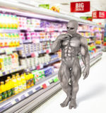 Alien shopping in supermarket Stock Photography