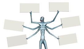 Alien with Six Blank Signs Royalty Free Stock Photo