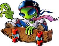 Alien Skater. Green alien doing a skateboard trick Stock Photography