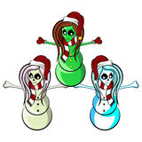 Alien Skeleton Cheerleader Snowmen Royalty Free Stock Photo