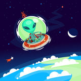 Alien in the sky. Colorful little green alien with big head flying his spaceship in Earth atmosphere. Vector cartoon alien on a space background Royalty Free Stock Images
