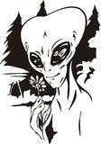 The alien smells a flower. Vector illustration. Ready for vinyl cutting Royalty Free Stock Photo