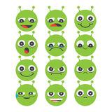 Alien Smiley face icons isolated on white background. With diferent expressions Stock Photo
