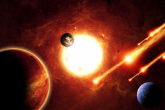 Alien solar system. Abstract scientific background - alien solar system, asteroids, planets, red galaxy. Elements of this image furnished by NASA/JPL-Caltech Stock Photos