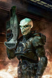 Alien soldier with armor Stock Photography