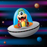 Alien in space. Cute alien flying trough space, layered and grouped illustration for easy editing Royalty Free Stock Photography