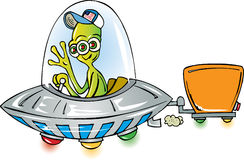 Alien from Space. Alien in flying saucer moving stock illustration