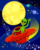 Alien in space. Cartoon alien flying in a spaceship and waving his hand. There is space for text in the moon Royalty Free Stock Photography