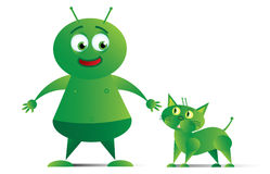 Alien with Space Cat_01 Stock Photos