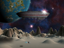 An alien space craft or UFO hovers over an alien moon stock illustration