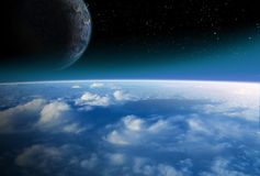 Alien space scene stock illustration