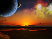 Alien Space Scene Stock Images