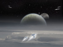 Alien space scene. Alien Sci-fi fiction image of space craft launching on an alien planet with moons rising Stock Image