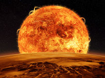 Alien space scene of a sun and planet surface Royalty Free Stock Photos