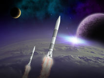 Alien space scene. A twin rocket launch on an alien world as 2 strange moons rise in space with a nebula lighting the sky Stock Images