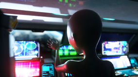 Alien in space ship. hand reaching out with Earth planet. UFO futuristic concept. 3d rendering. Stock Photography