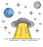 UFO and Planets in Space Flat Thin Line Art stock illustration