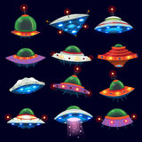 Alien space ships. Set of colorful alien space ships in the sky Royalty Free Stock Image