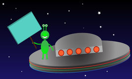 Alien in Space with Sign stock illustration