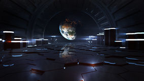 Alien Space Station Interior Observing Earth. Inside of an alien space station observing planet earth from distant orbit. High quality and high resolution 3D Stock Photo