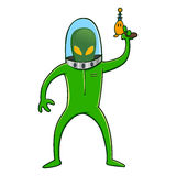 Alien in Space Suit Holding Laser Gun Stock Photo