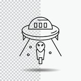 alien, space, ufo, spaceship, mars Line Icon on Transparent Background. Black Icon Vector Illustration stock illustration