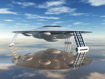 Alien Spacecraft. Computer generated 3D illustration with Alien Spacecraft Royalty Free Stock Image