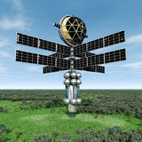 Alien Spacecraft in Earth's Atmosphere Stock Photos