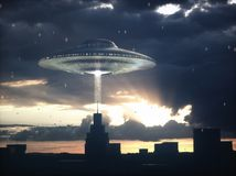 Alien Spacecraft Science Fiction Invasion stock illustration