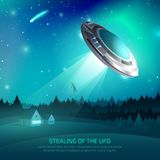Alien Spacecraft Kidnapping Poster. Alien spacecraft poster with flying saucer during kidnapping of person on night sky background vector illustration Royalty Free Stock Image