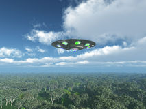 Alien Spacecraft over the Jungle Royalty Free Stock Photos