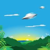 Alien spacecraft over jungle Stock Image
