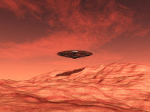 Alien Spacecraft over the Mars Stock Photo