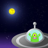 Alien in the spaceship. Stellar night sky with spaceship and alien Royalty Free Stock Images