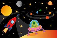 Alien in the spaceship Stock Image