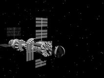 Alien Spaceship. 3D illustration of a spaceship over an alien planet Stock Image