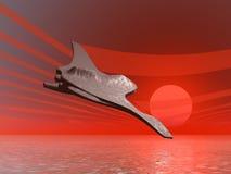 Alien Spaceship. 3D illustration of a spaceship over an alien planet Stock Photos