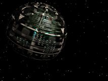 Alien Spaceship. 3D illustration of a spaceship over an alien planet Stock Photos