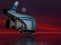 Alien Spaceship. 3D illustration of a spaceship over an alien planet Stock Photography